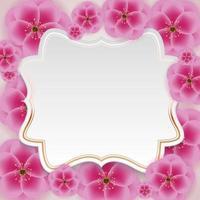 fundo de flor de ameixa 3d realista com modelo de quadro de golen. ilustração vetorial eps10 vetor