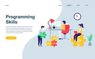 Modelo de design de página web plana moderna de habilidades de programação vetor