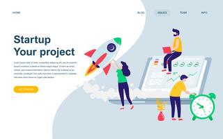 Modelo de design de página web plana moderna de inicialização de seu projeto
