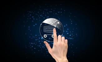 silhueta 3d realista de mão com ícone de compra. ilustração vetorial vetor