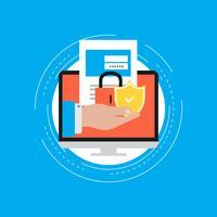 Design de ilustração vetorial plana de login de conta segura