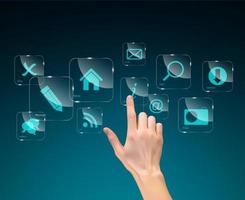 seleção de mão realista um botão de tecnologia vetor