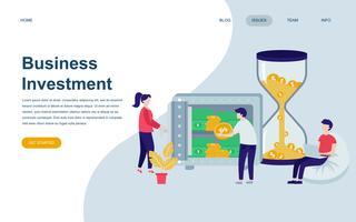 Modelo de design moderno web plana página de investimento empresarial