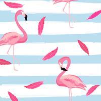 Flamingo e penas cor de rosa com listras sem costura de fundo vetor