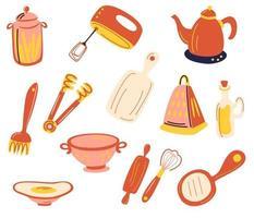 conjunto de acessórios de cozinha. utensílios de cozinha e utensílios. batedeira, ralador, batedeira, tábua de cortar, latas, coador, chaleira. para modelo de cartão de receita moderna definido para livro de receitas. ilustração em vetor plana.