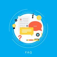 Conceito de FAQ, perguntas mais frequentes, assistência ao cliente e suporte ao cliente, produto e informações de serviço design de ilustração vetorial plana para banners web e apps