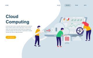 Modelo de design de página web plana moderna da tecnologia de nuvem vetor