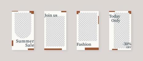 modelo de mídia social. modelo de histórias de mídia social editável na moda maquete isolada. design de modelo. ilustração vetorial. vetor