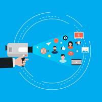 Campanha de marketing de vídeo, promoção online, marketing digital, ilustração em vetor plana publicidade internet