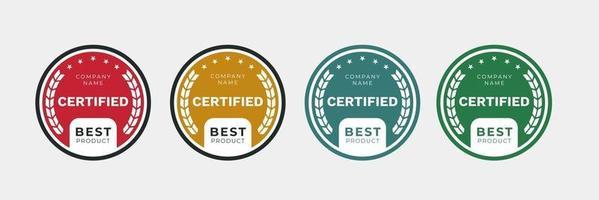 design de crachá certificado para o melhor modelo de produto. emblema de certificação de ícone de vetor em arredondado.