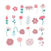 conjunto de ícones de vetor plano de flores desenhadas à mão