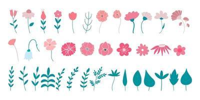 conjunto de flores e folhas ícones de vetor plana