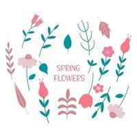conjunto de flores da primavera e ilustração vetorial plana de folhas vetor