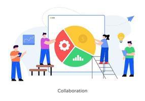 análise financeira e colaboração vetor