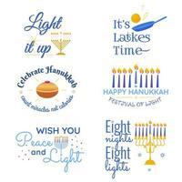 feliz hanukkah vetor tradicional feriado judaico frases tipografia citações definir chanukah humorista desejos menorah velas doar estrela david ilustração