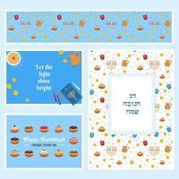feliz hanukkah, conjunto de cartões festivos do festival de luzes judaico de chanukkah vetor