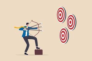 estratégia multitarefa ou multiuso, visando vários alvos ou objetivos, profissional habilidoso para alcançar o sucesso no conceito de trabalho e carreira, empresário mirando múltiplos laços em três alvos. vetor