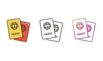ícone do passaporte com estilo diferente vetor