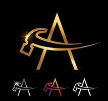 Monograma dourado, martelo, letra a vetor