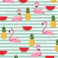 Abacaxi, melancia e flamingo com listras sem costura de fundo vetor
