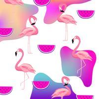 Flamingo fluida na moda e melancia sem costura de fundo vetor
