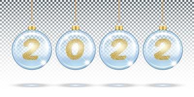 números 2022 de glitter dourados em bolas transparentes de natal vetor