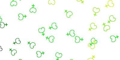fundo vector verde e amarelo claro com símbolos de mulher.
