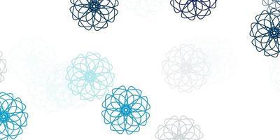 textura de doodle de vetor azul claro com flores.