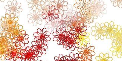 textura de doodle vector marrom claro com flores.