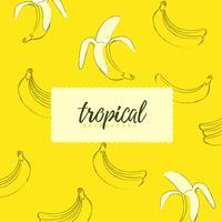 Fundo sem costura tropical com bananas vetor