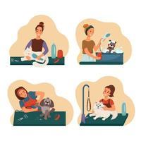 conjunto de animais de estimação de preparação, cuidados de limpeza de cães e gatos bem cuidados, coleção de ilustrações em estilo simples vetor