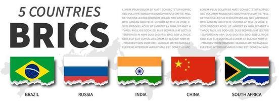 brics e associação. associação de 5 países. desenho de bandeira rasgado. vetor. vetor