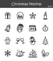 conjunto de ícones do festival de natal vetor