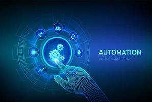 software de automação. Iot e conceito de automação como inovação, melhorando a produtividade em tecnologia e processos de negócios. interface digital tocante de mão robótica. vetor