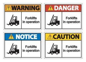 empilhadeiras em operação símbolo sinal isolam em fundo transparente, ilustração vetorial vetor