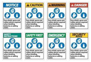 protetor facial, avental e luvas de borracha necessários ao manusear baterias ou adicionar água com símbolos de ppe vetor