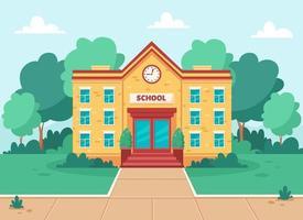 prédio escolar, instituição de ensino com quintal, árvores e gramado. vetor