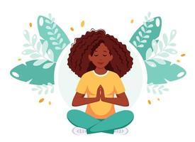 mulher afro-americana, meditando em posição de lótus. estilo de vida saudável, ioga, relaxamento vetor