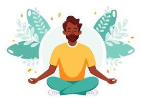 homem indiano meditando na posição de lótus. estilo de vida saudável, ioga, relaxamento, recreação vetor