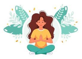 mulher meditando na posição de lótus. estilo de vida saudável, ioga, relaxe. vetor