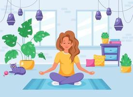 basiwoman meditando em posição de lótus no interior moderno e aconchegante. atividade doméstica. vetor