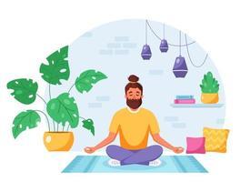 homem meditando na posição de lótus no interior moderno e aconchegante. estilo de vida saudável, atividade doméstica. vetor