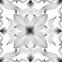 padrão sem emenda de arabesco floral abstrato. ornamento de linha árabe com formas de flores. floral oriental telha padrão com redemoinho linhas pretas. ornamento asiático. textura de doodle geométrico de redemoinho vetor