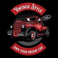ilustração de carro antigo em cor sólida vetor
