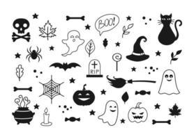 conjunto de halloween. isolado em fundo branco vetor