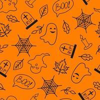 padrão sem emenda com elementos de halloween. fundo de halloween. ilustração para têxteis, impressão, cartão, convite, papel de parede, tecido vetor