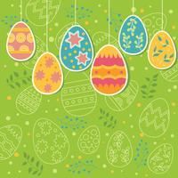 Ornamento de ovos multicoloridos com padrão de ovos de Páscoa no fundo vetor