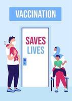 modelo de vetor plano de cartaz de campanha de vacinação