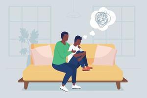 pai apoiar filho adolescente ilustração vetorial de cor lisa vetor