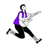 ilustração em vetor contorno plana guitarrista. saltando guitarrista. músico. membro da banda de música. rock and roll. homem com instrumento musical. personagem de contorno de desenho animado isolado em branco. desenho simples